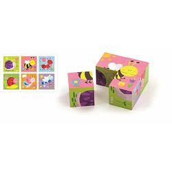 Igračka drvene kocke puzzle - bube (4 kom)