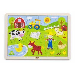 Igračka drvene puzzle 24 kom farma