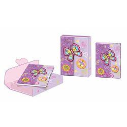Dnevnik s ključićem u kutiji na magnet leptir ljubičasti