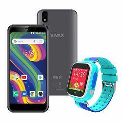 Mobitel VIVAX Fun S1 gray +  CORDYS SMART KIDS WATCH Zoom blue