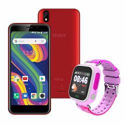 Mobitel VIVAX Fun S1 red +  CORDYS SMART KIDS WATCH Zoom pink