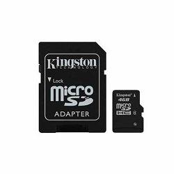 Memorijska kartica Kingston SD MICRO 4GB HC Class 4 + SD ada