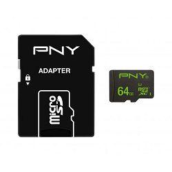 Memorijska kartica PNY MicroSDXCTM 100MB/s Performance  64GB, s 1 adapterom class10