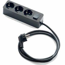 Produžni kabl 3 utičnice, 1.5m, prekidač, crni, 1.5 mm2 2623-N