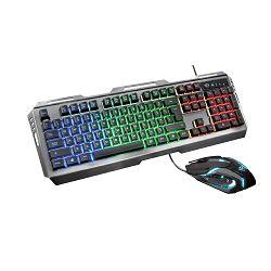 Tipkovnica + miš TRUST GXT845 Tural (gaming set, membranska, RGB osvjetljenje, crna)