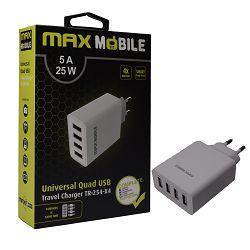 Adapter kućni 4 port MAXMOBILE USB TR-254, 5A, 25W, bijeli