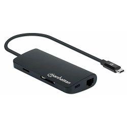 Adapter MANHATTAN multiport USB-C - 3.1 crni