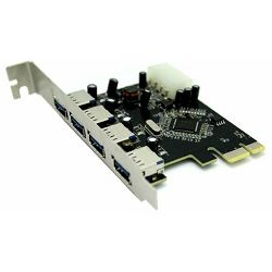 Kartica USB ASONIC PCIE USB 3.0, 4 porta do 5Gbps