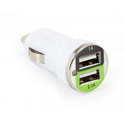 Auto punjač USB SBOX CC-221 / 2 ulaza - 2.1A bijeli