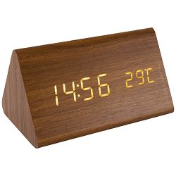 Budilica HOME OC05 (termometar, drveno kučište, smeđa)