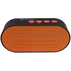 Portable Bluetooth V4.2+EDR stereo speaker with 3.5mm Aux, microSD card slot, USB / micro-USB port, bulit in 300mA battery, Black and Orange