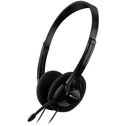PC headset with microphone, volume control and adjustable headband, cable 1.8M, Black