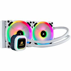 Hladnak za PC CORSAIR Hydro Series H100i RGB PLATINUM SE 240mm Liquid CPU Cooler, an all-in-one liquid CPU cooler with a 240mm radiator and vivid RGB lighting in brilliant white housing