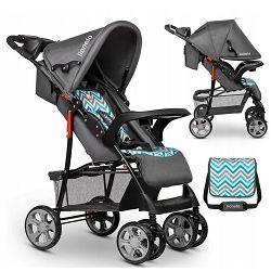Dječja kolica LIONELO EMMA PLUS siva-plava-scandi + torba za mamu