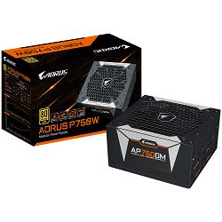 GIGABYTE GAMING AORUS P750W Power Supply 750W, Fully Modular, 80+ Gold, Japanese capacitors, 135mm Double ball bearing smart fan, OCP/OTP/OVP/OPP/UVP/SCP protection, 10 years warranty, EU plug