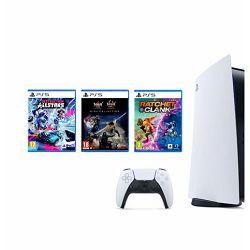 Igraća konzola PlayStation 5 B Chassis + Ratchet & Clank Rift Apart PS5 + Destruction AllStars PS5 + The Nioh Collection PS5