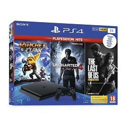 Igraća konzola SONY PLAYSTATION 4 1TB Slim F CHASSIS crni + Uncharted 4 HITS + The Last of Us + Ratchet&Clank