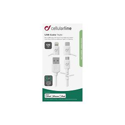 Kabel CELLULARLINE za iPhone  + 3u1 adapter