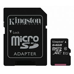 Memorijska kartica KINGSTON microSDCS 64GB UHS-I + adapter