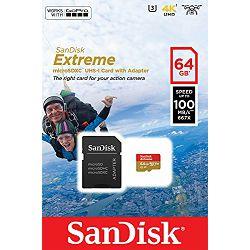Memorijska kartica SANDISK microSDXC 64GB + SD ADAPTER 100MB/s A1 C10 V30