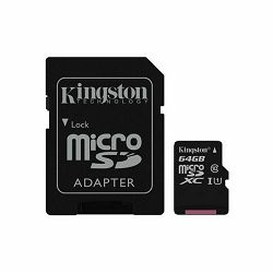 Memorijska kartica SD MIKRO 64GB CLASS 10 KINGSTON + adapter