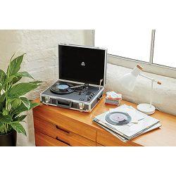 Prijenosni gramofon GPO RETRO FLIGHT srebrni