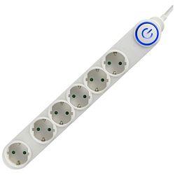 Produžni kabel strujni HOME 6 utičnica, 3 x 1,0mm, 5M bijeli