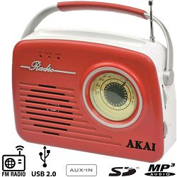 Retro radio AKAI APR-11R/B (crven)i -s USB-om, čitačem SD kartica, AUX
