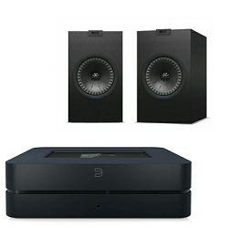 Set audio streamer BLUESOUND POWERNODE 2 crni + zvučnici KEF Q150 + zvučnički kabel
