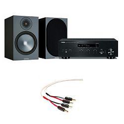 Set zvučnici MONITOR AUDIO BRONZE 100 crni + mrežni audio player YAMAHA R-N303D crni + kabel za zvučnike WIREWORLD Stream 8, 2.5m