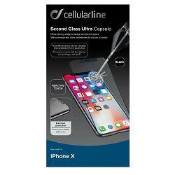 Staklo zaštitno CELLULARLINE za iPHONE X crno