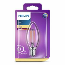 Žarulja LED PHILIPS E14, B35, 4W, topla prozirna