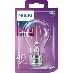 Žarulja LED PHILIPS E27, A60, 4W, topla prozirna