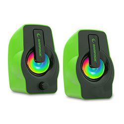 Zvučnici RAMPAGE RMS-G7 FALSETTO, LED osvjetljenje, 6W, 2.0, zeleni